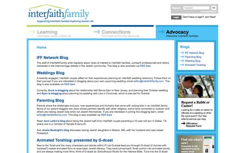 Screenshot of Blog interfaithfamily.com - InterfaithFamily - captured Sept. 19, 2014