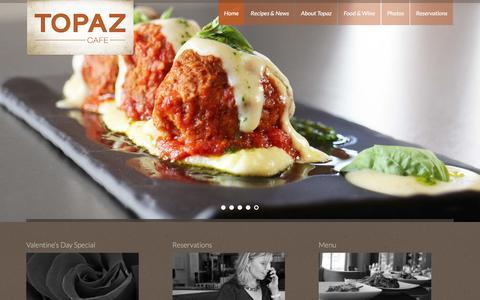Screenshot of Home Page topazcafe.com - Topaz Café - captured Feb. 3, 2016