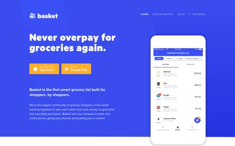 Screenshot of Home Page basket.com - Basket | Never overpay for groceries again. - captured July 7, 2018