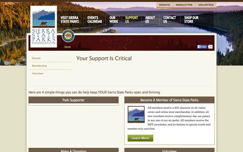 Screenshot of Support Page sierrastateparks.org - Your Support Is Critical | Sierra State Parks - captured May 7, 2016