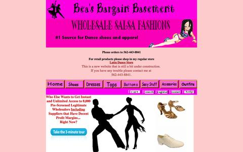 Screenshot of Home Page beasbargainbasement.com - Ballroom Dance Shoes, Salsa dresses, Party DRESSES, Sexy Halter Tops, latin dance outfits,Salsa Skirts   sexy Club Wear - captured March 11, 2016