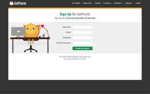 Screenshot of Signup Page jotform.com - Signup · JotForm - captured Feb. 17, 2017