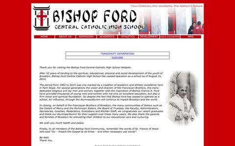 Screenshot of Home Page bishopfordhs.org - Bishop Ford Central Catholic High School - captured Oct. 5, 2014