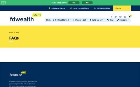 Screenshot of FAQ Page fdwealth.com - FAQs - FDwealth.com - captured Oct. 10, 2018