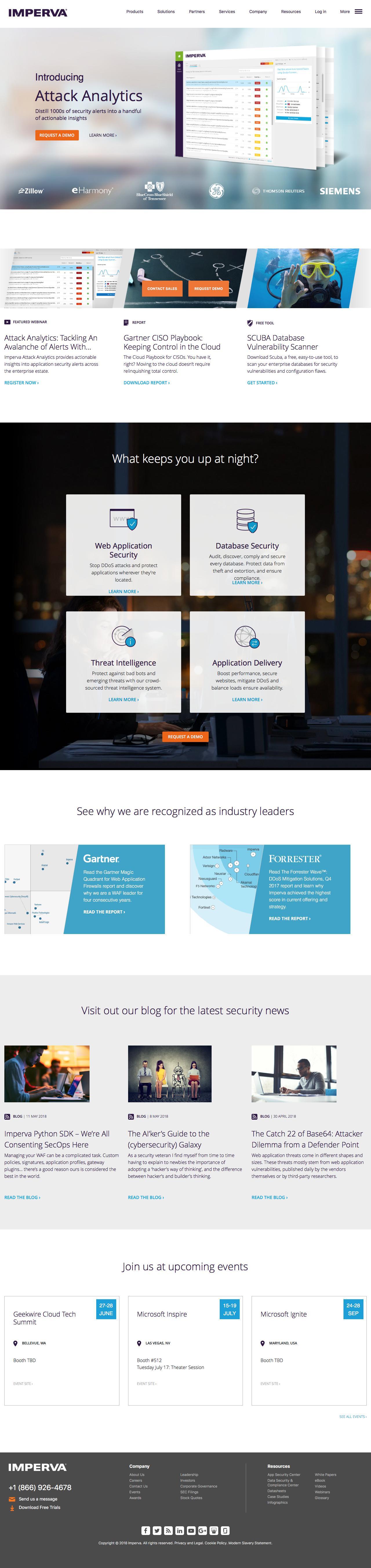 Screenshot of imperva.com - Cyber Security Leader | Imperva, Inc. - captured June 26, 2018