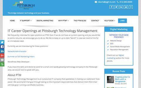 Screenshot of Jobs Page pgh-it.com - Jobs - Pittsburgh Technology Management - captured Jan. 23, 2016