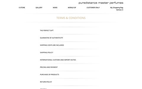 Screenshot of Terms Page puredistance.com - Terms & Conditions – Puredistance Master Perfumes - captured Nov. 15, 2016