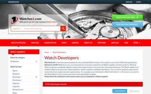 Screenshot of Developers Page watches1.com - Watch Developers - Watches1.com - captured Jan. 8, 2017