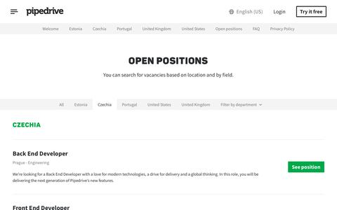 Screenshot of Jobs Page pipedrive.com - Open Positions | Jobs | Pipedrive - captured July 12, 2019