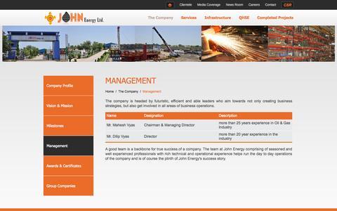 Screenshot of Team Page johnenergy.com - Management » The Company » John Energy Ltd. - captured Oct. 6, 2014