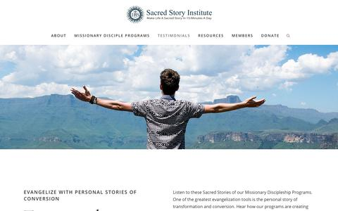 Screenshot of Testimonials Page sacredstory.net - Sacred Story | Testimonials - captured Oct. 1, 2018