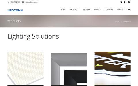 Screenshot of Products Page ledconn.com - PRODUCTS - Ledconn - captured Oct. 5, 2016
