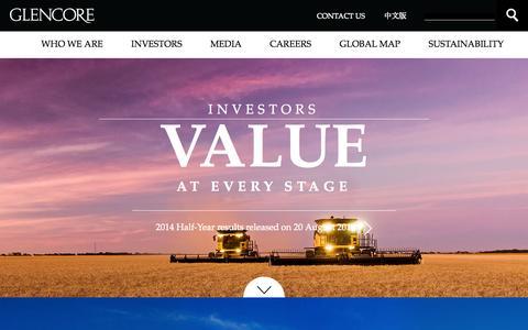 Screenshot of Home Page glencore.com - Home page       | Glencore - captured Sept. 19, 2014