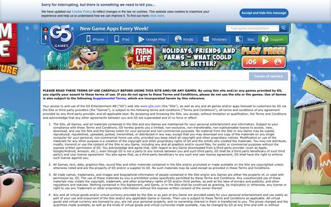 Screenshot of Terms Page g5e.com - G5 Games :: Terms of service - captured Jan. 23, 2016