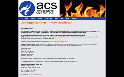 Screenshot of Jobs Page firecause.com - Jobs at ACS Investigative Services - captured Feb. 4, 2016