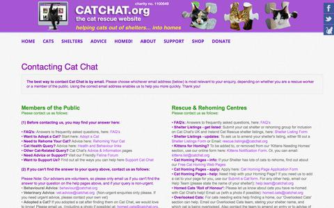 Screenshot of Contact Page catchat.org - Contact the Cat Chat Charity - Cat Chat - captured Oct. 20, 2017