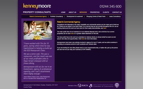 Screenshot of Services Page kenneymoore.co.uk - kenneymoore – retail and commercial agency » kenneymoore - Property Consultants - captured Sept. 20, 2018