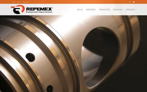 Screenshot of Home Page repemex.com.mx - REPEMEX - Rompiendo Expectativas | Fabricación y Comercialización de Máquinas Perforadoras Neumáticas y Repuestos Hidráulicos - captured Feb. 15, 2016