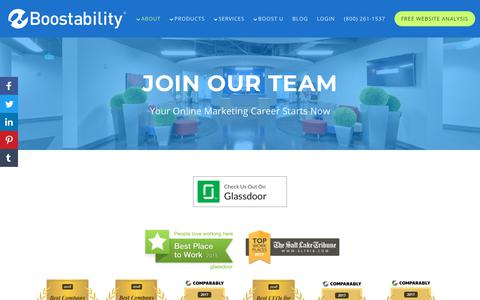 Screenshot of Jobs Page boostability.com - Join Our Team | Jobs at Boostability - captured Jan. 9, 2019