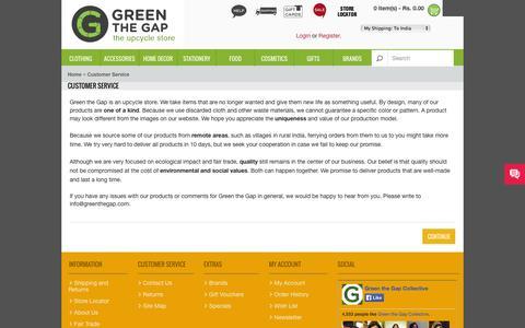 Screenshot of Support Page greenthegap.com - Customer Service - captured Sept. 30, 2014