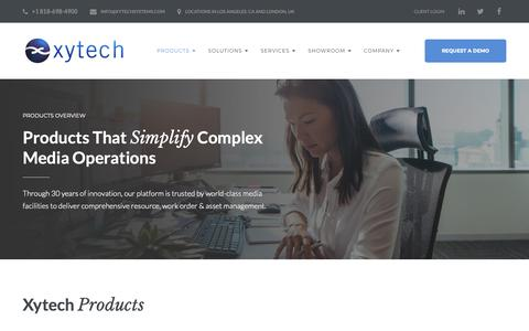 Screenshot of Products Page xytechsystems.com - Products | Xytech's Products Simplify Complex Media Operations - captured Oct. 20, 2018