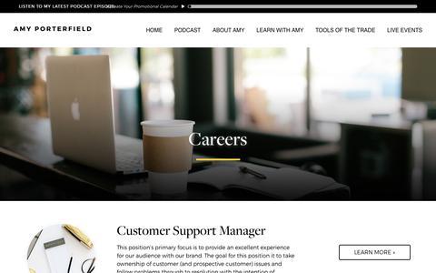 Screenshot of Jobs Page amyporterfield.com - Careers - Amy Porterfield | Online Marketing Expert - captured Nov. 6, 2017