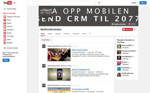 Screenshot of YouTube Page youtube.com - NextComEvolution  - YouTube - captured Oct. 29, 2014