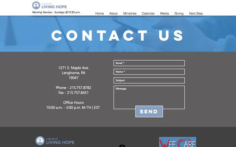 Screenshot of Contact Page churchlh.com - Contact us at a church of living hope - captured July 2, 2018