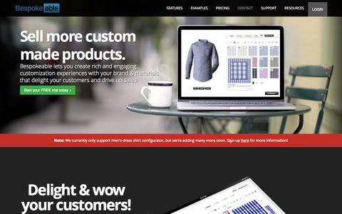 Screenshot of Home Page bespokeable.com - Bespokeable | The easiest way to sell custom-made products online. - captured Oct. 5, 2014