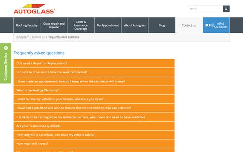 Screenshot of FAQ Page autoglass.ie - Frequently asked questions - Autoglass - captured Dec. 13, 2018