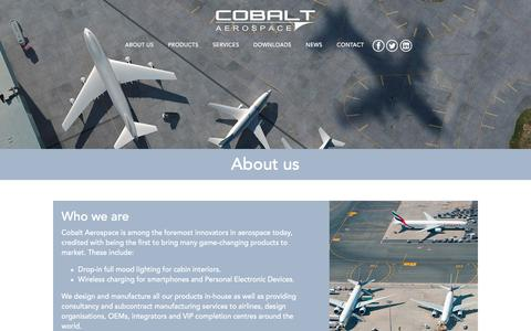 Screenshot of About Page cobaltaerospace.com - About us - captured Nov. 8, 2016