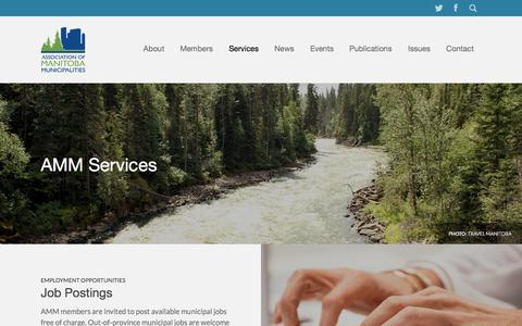 Screenshot of Services Page amm.mb.ca - AMM - Association of Manitoba Municipalities  | Services - captured Nov. 2, 2014