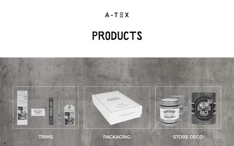 Screenshot of Products Page a-tex.com - Products - A-TEX - captured May 25, 2017