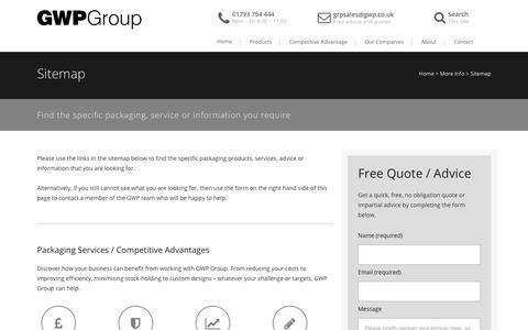 Screenshot of Site Map Page gwp.co.uk - Sitemap: Find the Packaging, Services or Info You Need | GWP Group - captured July 13, 2017