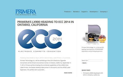 Screenshot of Blog primera.com - General News | Official Primera Technology Blog - captured Oct. 27, 2014