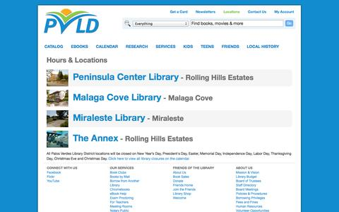 Screenshot of Locations Page pvld.org - Hours & Locations | Palos Verdes Library District - captured Oct. 1, 2014