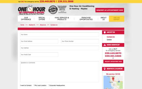 Screenshot of Contact Page onehourheatandair.com - Contact Us   One Hour Air Conditioning & Heating in Naples, FL - captured Jan. 27, 2017
