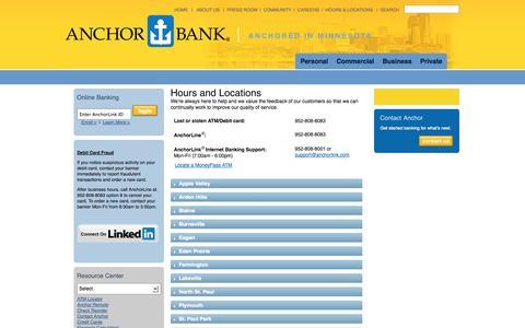 Screenshot of Locations Page anchorlink.com - Anchor Bank Hours – Anchor Bank Locations   Anchor Bank - captured Sept. 19, 2014
