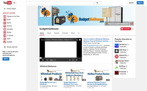 Screenshot of YouTube Page youtube.com - budgetmailboxes  - YouTube - captured Oct. 23, 2014