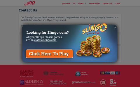 Screenshot of Contact Page slingo.com - Contact | Slingo UK - captured Nov. 24, 2016