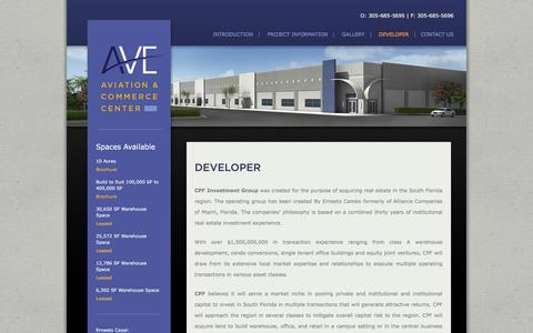 Screenshot of Developers Page avemiami.com - Developer | AVE Aviation & Commerce Center - captured July 9, 2017