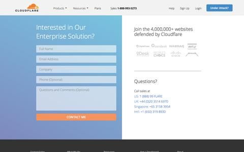 Screenshot of Contact Page cloudflare.com - Enterprise Plan Contact | Cloudflare - captured Sept. 28, 2016