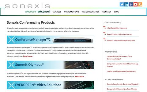 Screenshot of Products Page sonexis.com - Sonexis - Conferencing Products - Audio, Web & Video Conferencing Services - captured Feb. 17, 2020