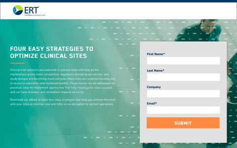 Screenshot of Landing Page ert.com - eBook: Four Easy Strategies to Optimize Clinical Sites - captured Feb. 21, 2018
