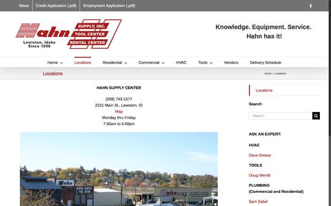 Screenshot of Locations Page hahnsupply.com - Locations – Hahn Supply Center - captured Sept. 26, 2018