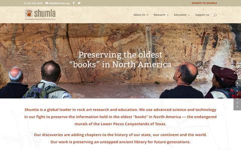 Screenshot of Home Page shumla.org - Home - Shumla - captured Nov. 18, 2016
