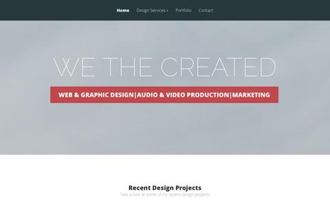 Screenshot of Home Page wethecreated.com - WE THE CREATED | Web & Graphic Design|Audio & Video Production|Marketing - captured Sept. 30, 2014