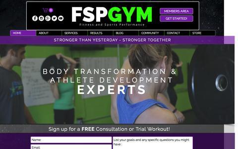 Screenshot of Home Page fspgym.com - fsp-gym - captured Feb. 10, 2016