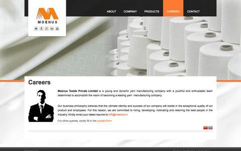 Screenshot of Jobs Page moenus.in - Careers - Moenus - captured Oct. 26, 2014
