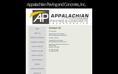 Screenshot of Contact Page appalachianpaving.net - Appalachian Paving and Concrete, Inc. - Contact Us - captured Feb. 6, 2016